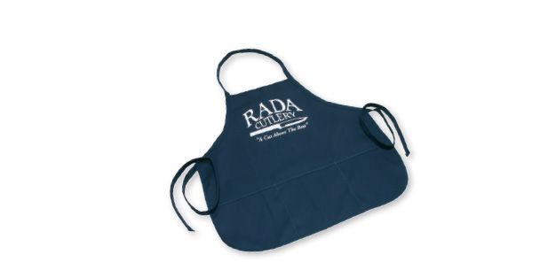 The American made blue apron by Rada Cutlery is durable with pockets.
