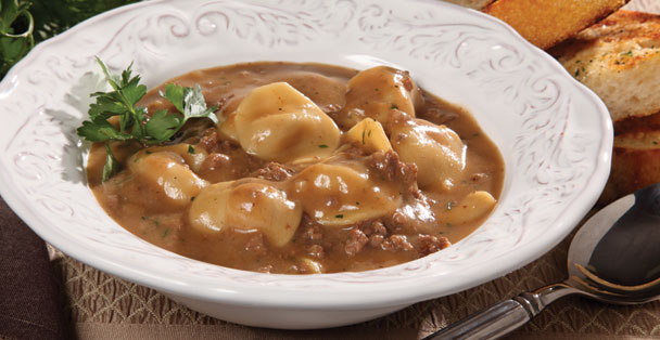 A ground beef stroganoff recipe that is actually a soup from a dry mix.