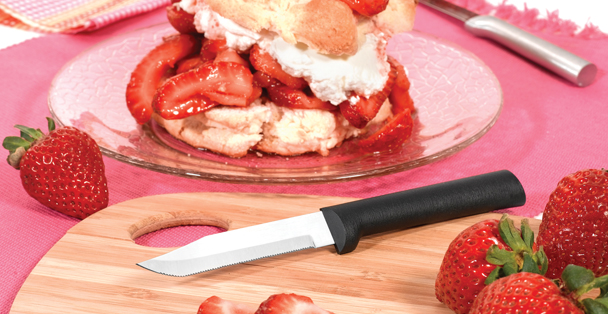 Rada Cutlery makes a serrated paring knife that can easily saw through different foods like fruits and vegetables.