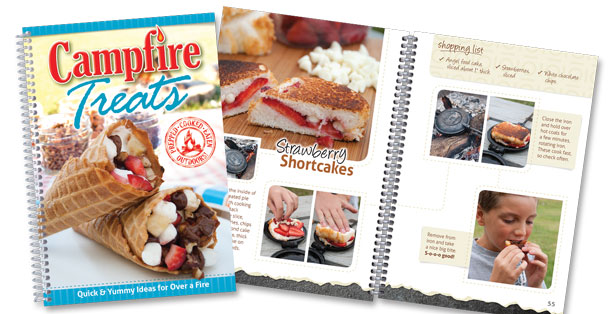 Campfire Treats cookbook and open page.