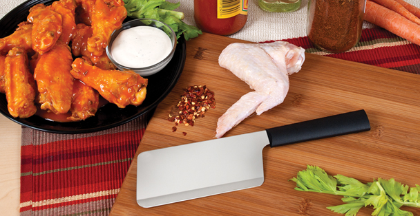This stainless steel meat cleaver can chop through almost anything. This kitchen knife is made in the United States.