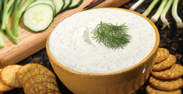 This refreshing dip is made with a cucumber onion flavor.