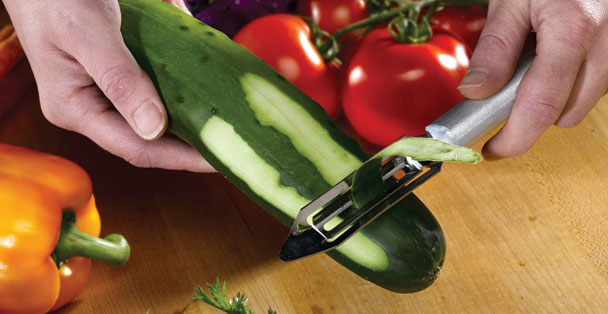 The Deluxe Vegetable peeler works well as a cucumber peeler.