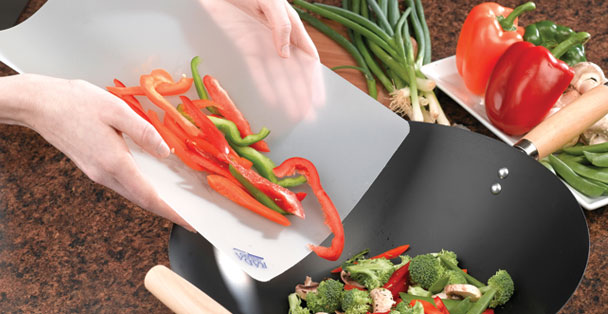 The Rada Cutlery flexible cutting board bends. This makes adding ingredients you sliced to pots and pans easy.