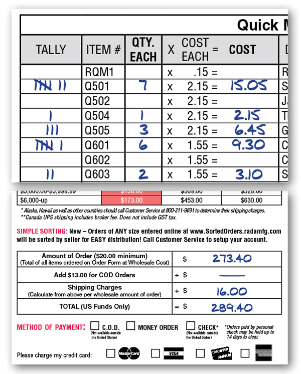 USA Fundraising Products – Fund Raiser Order Form