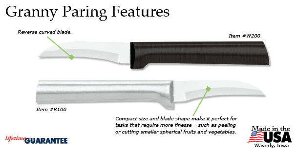 The granny knife is our smallest knife and is perfect for peeling fruits and vegetables.