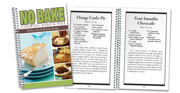 No Bake Cookies, Bars & Pies is a cookbook with easy and delicious dessert recipes.
