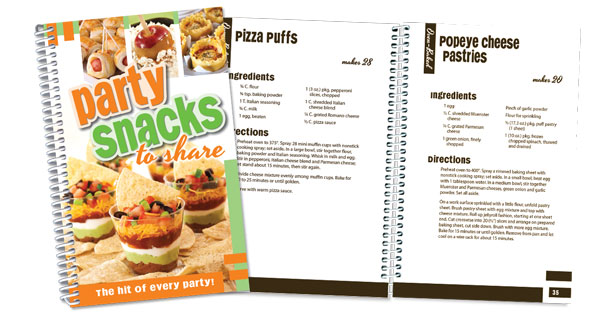 Unique party snack recipes cookbook.