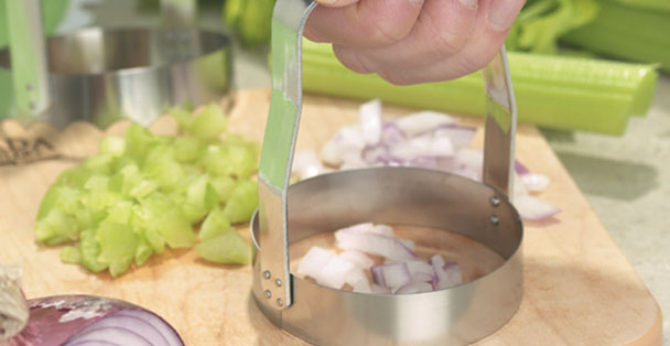 The plain food chopper by Rada Cutlery is the best way to dice onions, celery and other vegetables.