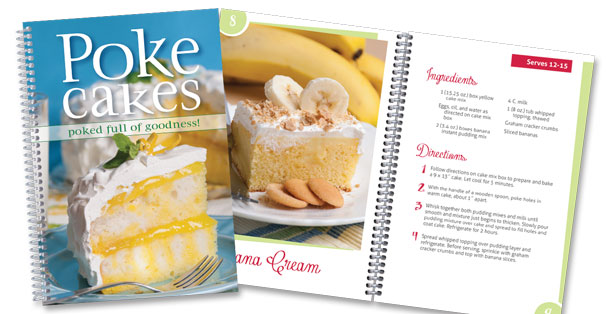 Picture of the Poke Cake cookbook with recipe showing.