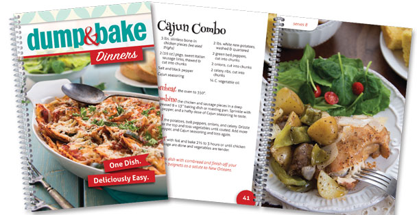 Image of the cover of the Dump and Bake Dinners cookbook.