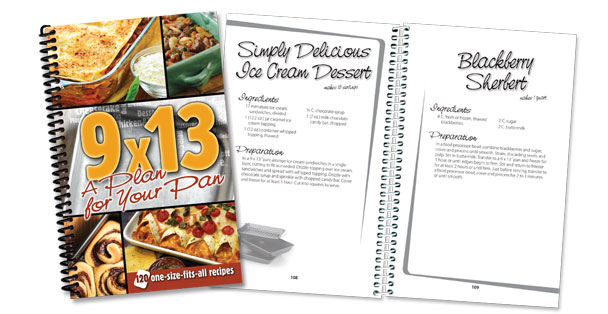 9 by 13 inch pan recipes cookbook available from Rada Cutlery.