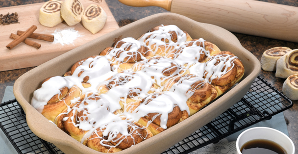 The rectangular baker stoneware is great for baking casseroles but you can also bake things like cinnamon rolls in it.