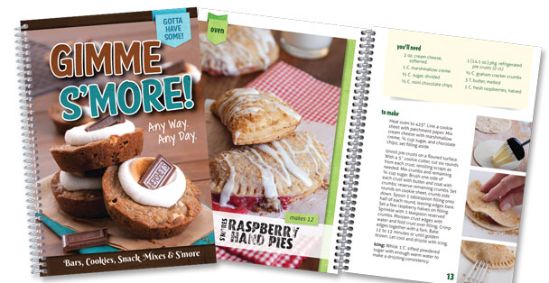 Picture of Gimme S'more Cookbook with page open to Raspberry Hand Pies.