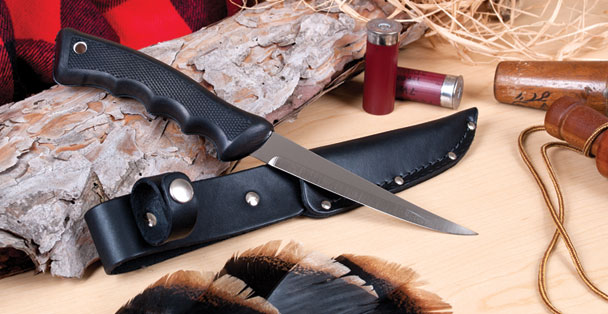 The sportsman knife or hunting knife by Rada Cutlery comes with a leather scabbard that can attach to your belt.