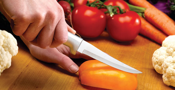 The large paring knife made by Rada Cutlery has a longer blade making it a more versatile knife.