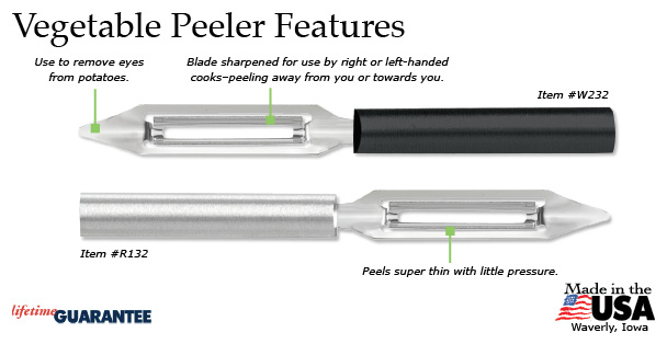 Features of the Rada Vegetable Peeler.