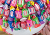 Bubble gum candy bouquet centerpiece for a kid's party decoration idea.