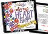 Image of the Color my Heart Happy adult coloring book cover.