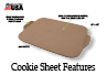 "The Cookie Sheet has a large 12"" x 15"" surface with offset handles to make it easier to remove from the oven."
