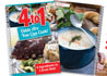 4 to 1 cookbook cover with Creamy Potato soup recipe page beneath.