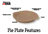 The Pie Plate absorbs heat evenly and has a textured surface to produce flaky pie crusts.