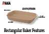 The Rectangular Baker is a great baking dish for casseroles, lasagna and desserts.
