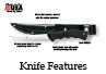 The hunting knife has a strong blade and can attach to a belt.