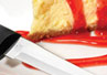 The Rada Cutlery Super Parer knife easily slices desserts such as cheesecake.
