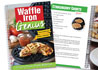 Waffle Iron Genius cookbook cover with Strawberry Shorts recipe beneath.
