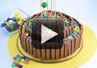 A video demonstration on how to make a Kit Kat candy bar cake.