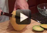 Slicing cantaloupe with Serrated Slicer.