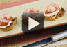 A video recipe on how to make crostini and shrimp appetizers.