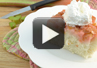 A video recipe on how to make upside down rhubarb cake.