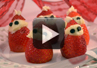 Video on how to make strawberries into santa claus.