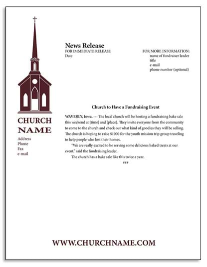 The church fundraising guide fundraisers for churches for Concert press release template