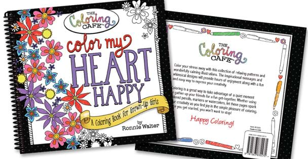 Image Of The Color My Heart Happy Adult Coloring Book Cover