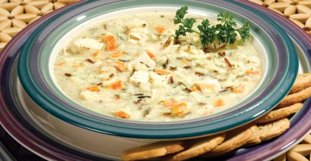 A creamy chicken and wild rice soup that can be made in a matter of minutes.