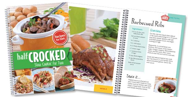 Picture of Half Crocked Cookbook with open page to Barbeque Ribs.