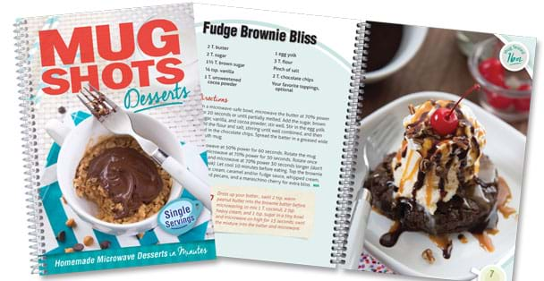 Mug shots desserts cover page with Fudge Brownie Bliss recipe page.