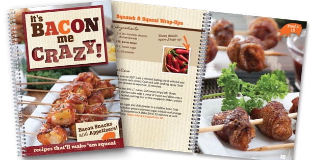 The It's Bacon Me Crazy recipe book.