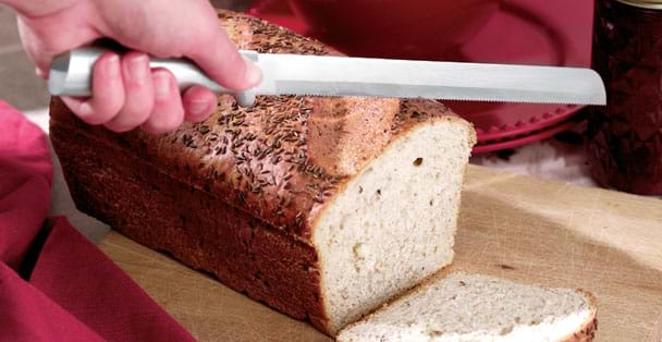 The long bread knife that Rada Cutlery easily slices through breads without ruining them.