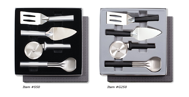 The Ultimate Utensil Gift Set includes the Serrated Pie Server, metal Spatula, Ice Cream Scoop and Pizza Cutter.