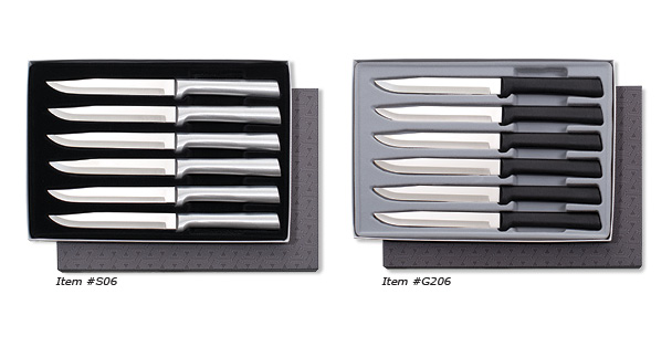 A non-serrated steak knife set that Rada Cutlery manufactures is the Six Utility/Steak Knives Gift Set.