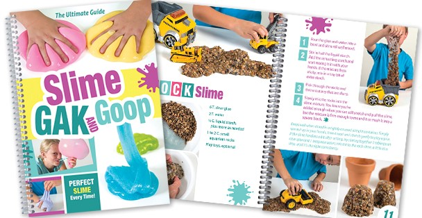 Recipe book with recipes for homemade slime, gak and goop.