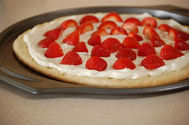 A delicious strawberry pizza makes a great dessert!