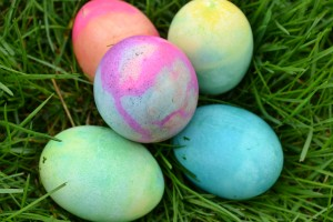 A beautiful set of dyed Easter Eggs.