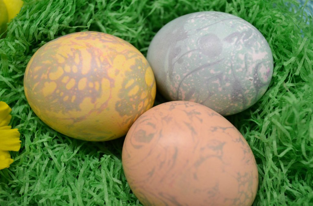 A trio of beautiful marble Easter eggs.