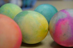 A set of groovy tie die eggs.