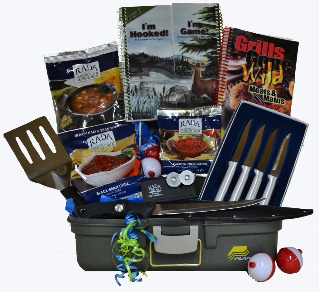 A Father's Day gift basket filled with Rada Cutlery products.